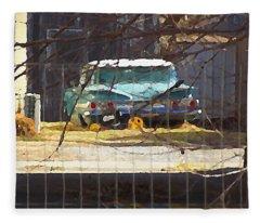 Memories Of Old Blue, A Car In Shantytown.  Fleece Blanket