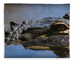 Menacing Alligator Fleece Blanket