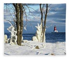 Menominee Lighthouse Ice Sculptures Fleece Blanket