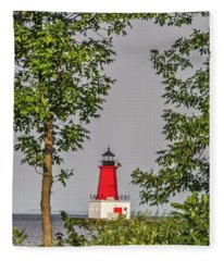 Menominee Pierhead Lighthouse Fleece Blanket