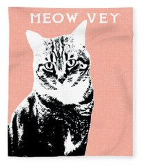 Meow Vey- Art By Linda Woods Fleece Blanket