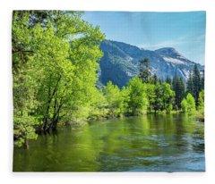 Merced River In Yosemite Valley Fleece Blanket