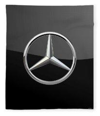 Mercedes-benz - 3d Badge On Black Fleece Blanket