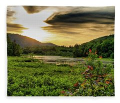 Meredith Pond Sunset Fleece Blanket