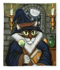Merlin The Magician Cat Fleece Blanket