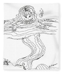 Mermaid Bubblebath Bw Fleece Blanket
