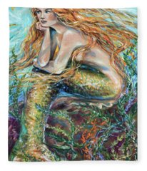 Mermaid Contemplating Fleece Blanket