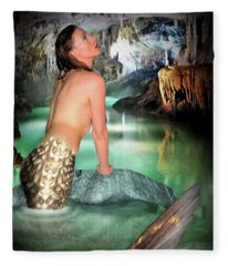 Mermaid In A Cave Fleece Blanket