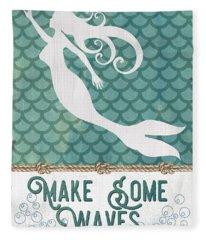 Mermaid Waves 1 Fleece Blanket