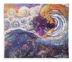 Mermaids In The Surf Fleece Blanket