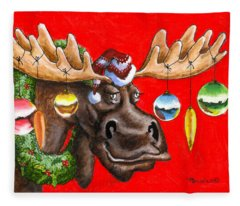 Merry Chris Moose Fleece Blanket