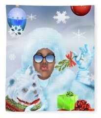 Merry Christmas And Kisses Fleece Blanket