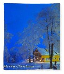 Merry Christmas Cabin Digital Art Fleece Blanket