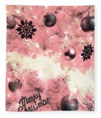 Merry Christmas In Pink Fleece Blanket