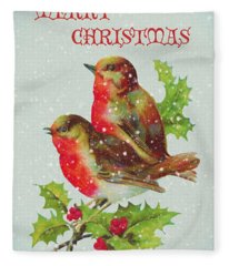 Merry Christmas Snowy Bird Couple Fleece Blanket
