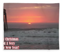 Merry Christmas Sunrise  Fleece Blanket