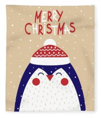 Merry Christmas With Penguin Fleece Blanket