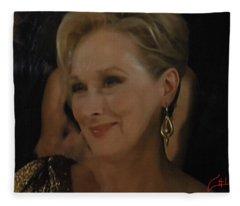 Meryl Streep Receiving The Oscar As Margaret Thatcher  Fleece Blanket