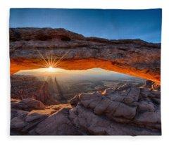 View Through The Mesa Arch At  Sunrise Fleece Blanket