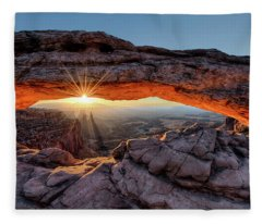 Mesa Arch Sunburst By Olena Art Fleece Blanket