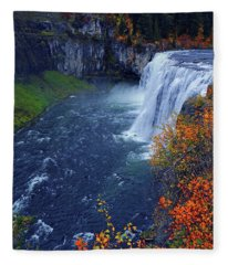 Mesa Falls In The Fall Fleece Blanket