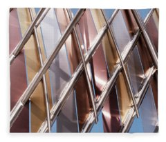 Metal Abstract With Lines And Angles In Lansing Michigan Fleece Blanket