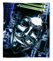 Metal Anonymous Mask On Motherboard Fleece Blanket
