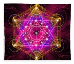 Metatron's Cube With Flower Of Life Fleece Blanket