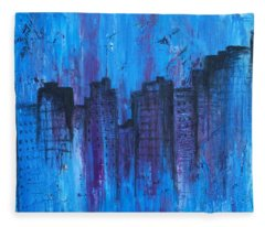 Metropolis In Blue Fleece Blanket