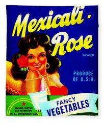 Mexicali Rose Vintage Vegetable Crate Label Fleece Blanket