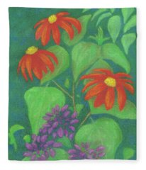 Mexican Sunflowers And Cleome Fleece Blanket