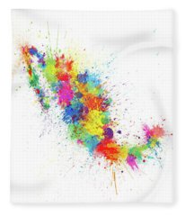 Mexico Paint Splashes Map Fleece Blanket
