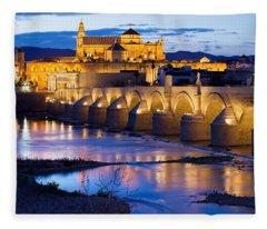 Cathedral Mosque And Roman Bridge In Cordoba Fleece Blanket