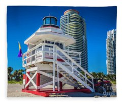 Miami Beach Lifeguard 4465 Fleece Blanket