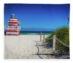 Miami Beach Lifeguard 4467 Fleece Blanket