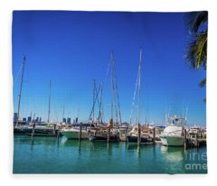 Miami Beach Marina 4509 Fleece Blanket