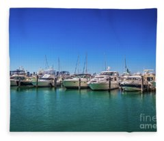 Miami Beach Marina 4515 Fleece Blanket