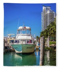 Miami Beach Marina 4516 Fleece Blanket