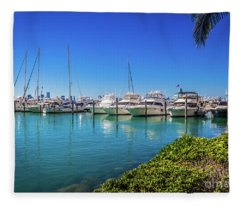 Miami Beach Marina 4520 Fleece Blanket
