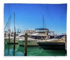 Miami Beach Marina 4523 Fleece Blanket