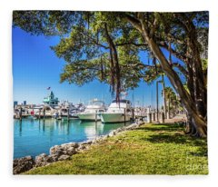 Miami Beach Marina 4526 Fleece Blanket