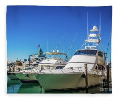 Miami Beach Marina 4528 Fleece Blanket