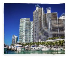 Miami Beach Marina 4563 Fleece Blanket