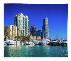 Miami Beach Marina 4571 Fleece Blanket