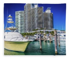 Miami Beach Marina 4575 Fleece Blanket