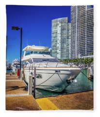 Miami Beach Marina 4578 Fleece Blanket