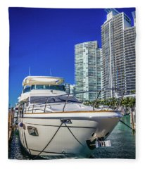 Miami Beach Marina 4606 Fleece Blanket