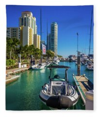 Miami Beach Marina 4631 Fleece Blanket
