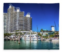 Miami Beach Marina 4573 Fleece Blanket