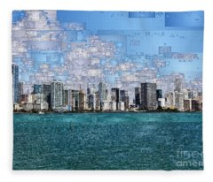 Fleece Blanket featuring the digital art Miami, Florida by Rafael Salazar